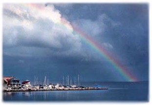 Rainbow over Charlotte Harbor and Fisherman's Village